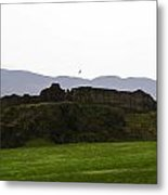 Saltire And The Ruins Of The Urquhart Castle In Scotland Metal Print
