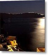 Santorini Caldera Moonlight Metal Print