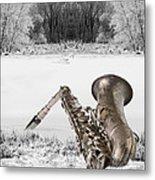 Sax On Snowy River Metal Print