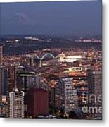 Seattle Skyline With Mount Rainier And Downtown City Lights Metal Print