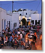 Serifos Town During Dusk Time Metal Print