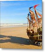 Ship Model On Summer Sunny Beach Metal Print