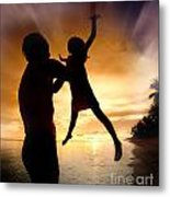 Silhouette Family Of Child Hold On Father Hand Metal Print
