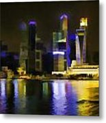 Singapore Skyline As Seen From The Pedestrian Bridge Metal Print