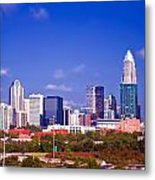 Skyline Of Uptown Charlotte North Carolina At Night Metal Print