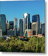 Skylines In A City, Bow River, Calgary Metal Print