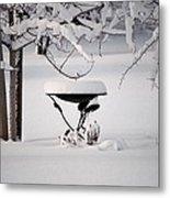 Snowy Bird Bath Metal Print