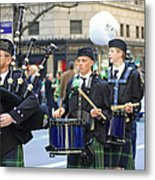 Some Bagpipers Marching In The 2009 New York St. Patrick Day Parade Metal Print