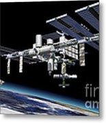 Space Station In Orbit Around Earth Metal Print by Leonello Calvetti