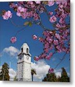 Spring Blossom And Memorial Clock Metal Print