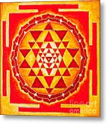 Sri Yantra For Meditation Painted Metal Print