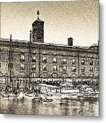 St Katherine's Dock London Sketch Metal Print