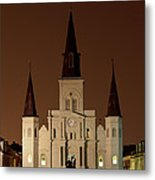 St Louis Cathedral At Night Metal Print