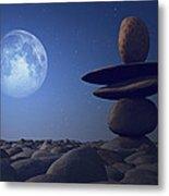 Stacked Stones In Moonlight Metal Print by Aleksey Tugolukov