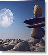 Stacked Stones In Sunlight Witt Moon Metal Print