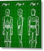 Star Wars C-3po Patent 1979 - Green Metal Print
