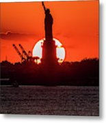 Statue Of Liberty Sunset. Nyc Harbor Metal Print