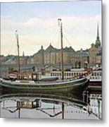 Stockholm City Harbor Sunrise Metal Print