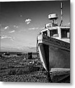 Stunning Black And White Image Of Abandoned Boat On Shingle Beac Metal Print by Matthew Gibson