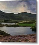 Stunning Sunrise Panorama Landscape Of Heather With Mountain Lak Metal Print