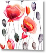 Stylized Poppy Flowers Illustration  Metal Print