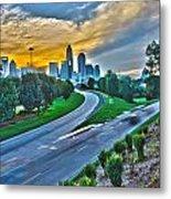 Sun Setting Over Charlotte North Carolina A Major Metropolitan C Metal Print