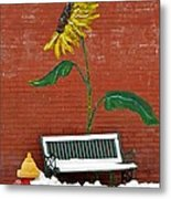 Sunflower And Snow Metal Print