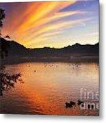 Sunrise Over An Alpine Lake Metal Print