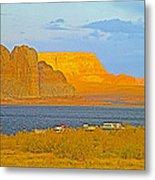 Sunset Glow Over Wahweap Bay In Lake Powell In Glen Canyon National Recreation Area-arizona Metal Print