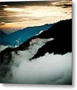 Sunset Himalayas Mountain Nepal Panaramic View Metal Print by Raimond Klavins
