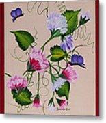 Sweet Peas And Butterflies Metal Print