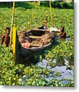 Taking Mud From The Bottom Of The Canal Metal Print