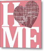 Tampa Street Map Home Heart - Tampa Florida Road Map In A Heart Metal Print