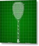 Tennis Racket Patent 1887 - Green Metal Print