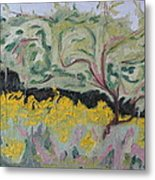 The Apple Tree And The Golden Rods Metal Print