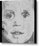 The Face In Black And White Metal Print