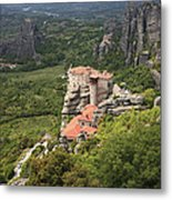 The Holy Monastery Of Rousanou Meteora Greece  Metal Print
