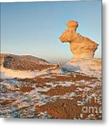 The Rabbit Stone Formation In White Desert Metal Print
