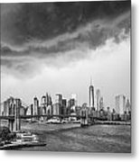 The Storm Over Manhattan Downtown Metal Print