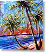 Three Palms On The Beach Metal Print