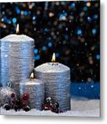 Three Silver Candles In Snow  Metal Print