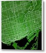 Toronto Street Map - Toronto Canada Road Map Art On Colored Back Metal Print