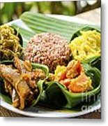 Traditional Vegetarian Curry With Rice In Bali Indonesia Metal Print
