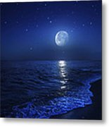 Tranquil Ocean At Night Against Starry Metal Print