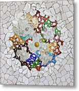 Trencadis Mosaic In Park Guell In Barcelona Metal Print