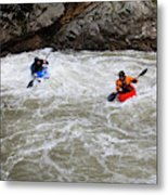 Two Kayakers Carry Their Boats Metal Print