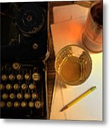 Typewriter And Whiskey Metal Print