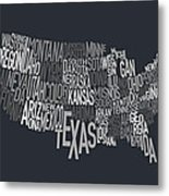 United States Text Map Metal Print