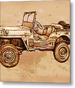 Us Army Jeep In World War 2 - Stylised Modern Drawing Art Sketch Metal Print