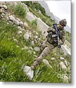 U.s. Army Specialist Walks Metal Print